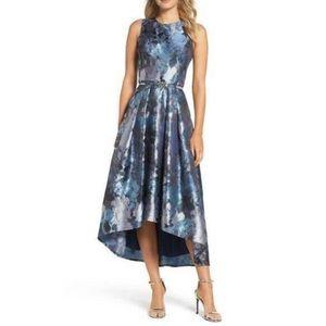 Eliza J floral jacquard hi-low dress